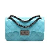 New Fashion Silicon Jelly Women Messenger Bags European And American Diamond Lattice Chain Candy Color Handbag