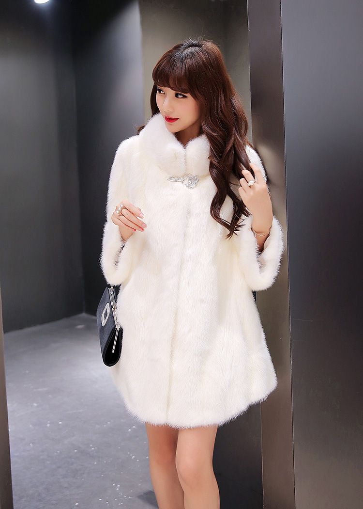 Faux Fur Coat inlay crystal mink Hair Cape Jacket 2017 winter warm Fur Overcoat Imitation mink Fur With a Hood Luxury Fake Fur free shipping the new imitation rabbit hair imitation fur shawl jacket bridal gown cape fur collar female overcoat scarf
