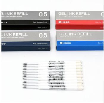 Kaco 10 sztuk/pudło G2 wkład europejski Standard 0.5mm czarny czerwony niebieski ciemny niebieski-niebieskie wkłady atramentowe dla chowany żel długopisy artykuły biurowe
