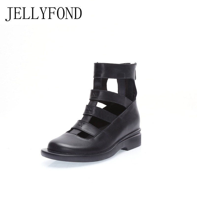 JELLYFOND Brand Women Genuine Leather Gladiator Sandals 2018 Designer Cover Toes Cowhide Bootie Sandals Summer Shoes Woman phyanic 2017 gladiator sandals gold silver shoes woman summer platform wedges glitters creepers casual women shoes phy3323