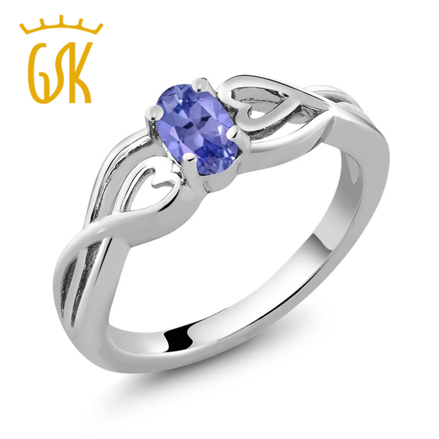 Gemstoneking 0.45 ct 6x4mm oval azul natural tanzanite pedra preciosa birthstone 925 esterlina das mulheres de prata anel de noivado