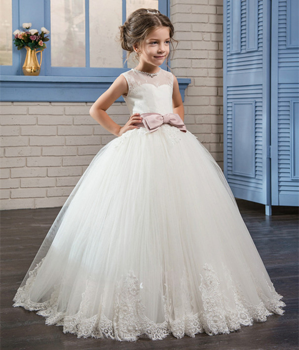 New White/Ivory Communion Dresses Flower Girl Dresses for Wedding Lace Up Appliques Sleeveless O-Neck Ball Gown Vestidos цены