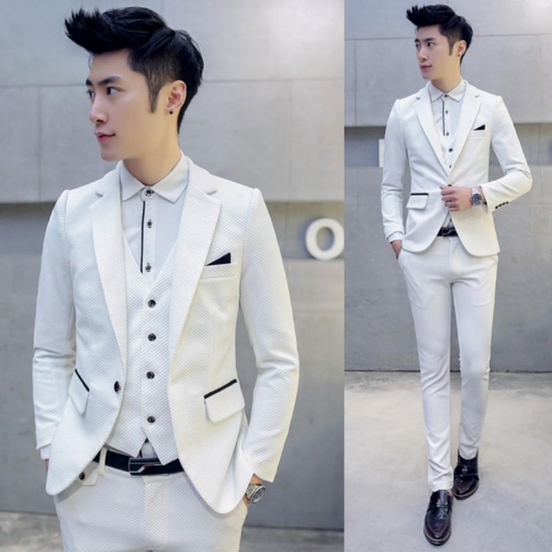 (Jacket+Vest+Pants)Men Slim Fit Suits Big Size M-5XL Mens White Wedding Suits With Pants Business Mens Formal Wear Costume Homme ...
