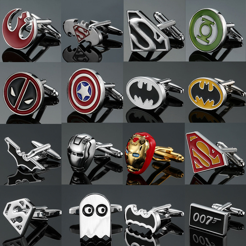 Logo Cufflinks Batman-Tie-Clips Party-Shirt Letter Avengers Flash-Deadpool Superhero