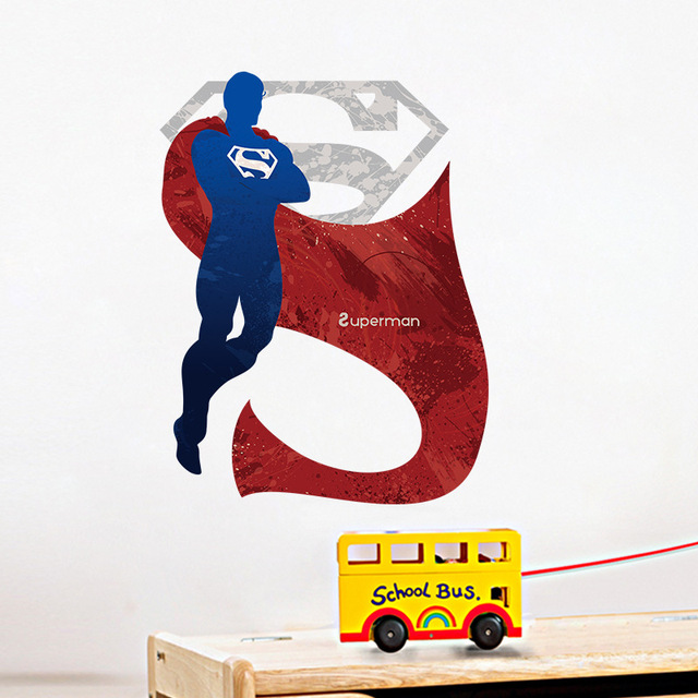 Attractive 3D Cartoon Superman Wall Stickers For Kids Rooms Liviing Room Wall Decals  Home Decor Wallpaper Mural