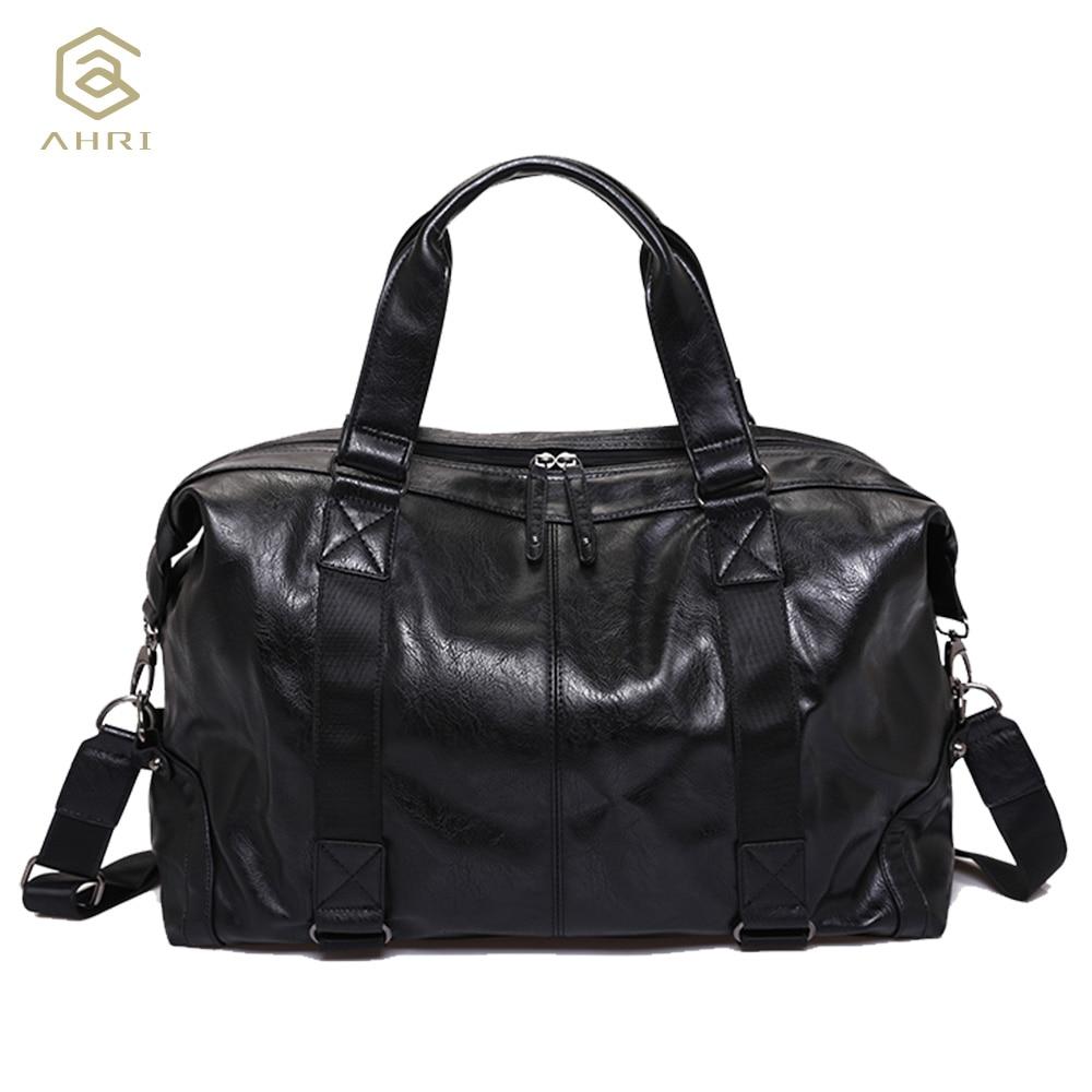 AHRI 2017 NEW Men Fashion Handbag For Men Solid PU Leather Shoulder Men's Casual Tote Bags Brown Vintage Business Top handle Bag