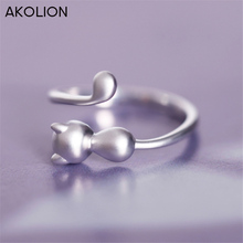 AKOLION  Hot Sell Silver Charm Cat Rings Wedding Adjustable 925 Sterling Ring For Women Girl Factory price