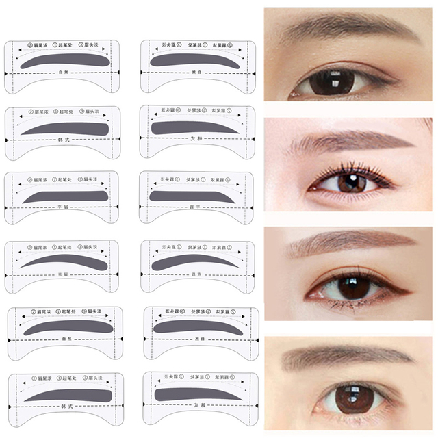 8pair Professional Eyebrow Stencils Template Stickers DIY Eyebrow Drawing Card Eyes Brow Stencil Set Women Beauty Makeup Tools