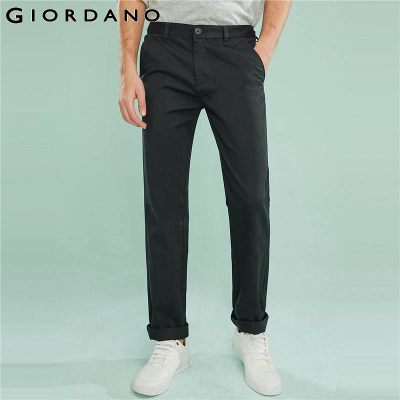 Giordano Men Pants Solid Cotton Silm Fit Trousers Plain Color Casual Pants for Men Narrow Feet Man Brand Clothing Twill Bottoms-in Casual Pants from Men's Clothing