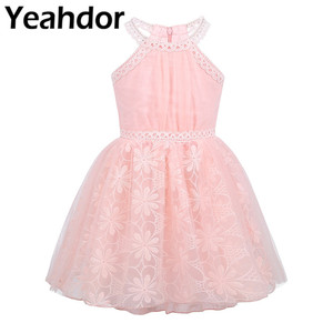 Image 1 - Kids Girls Sleeveless Halter Neck Floral Lace Tulle Flower Girl Dress for Wedding Pageant Birthday Party Princess Dress Vestidos