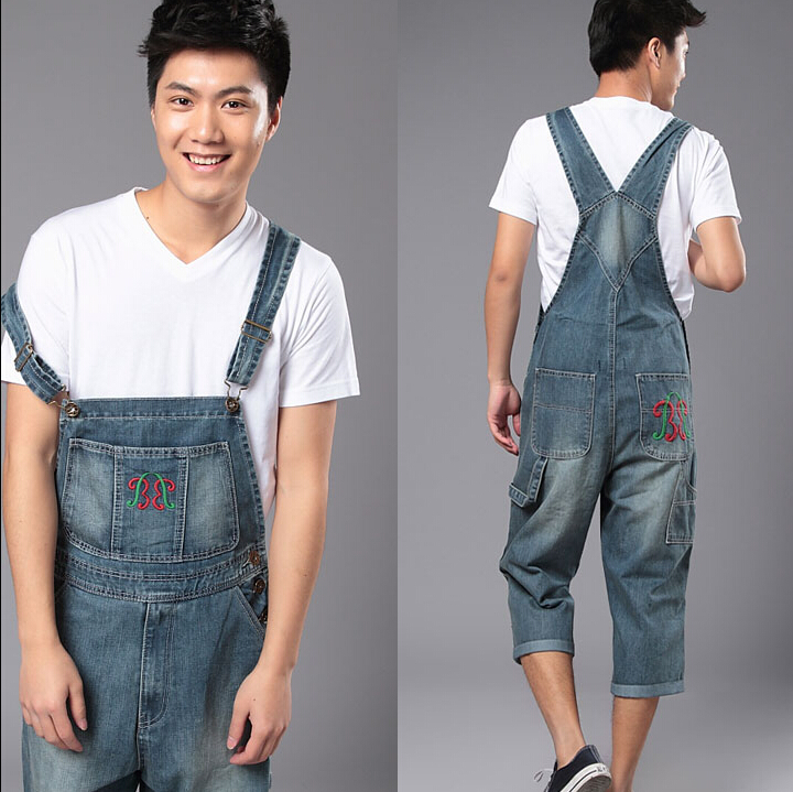 ФОТО New Fashion Reminisced Men vintage Casual Jeans  Loose Plus Size Overalls Zipper Denim Jumpsuit Men Pants