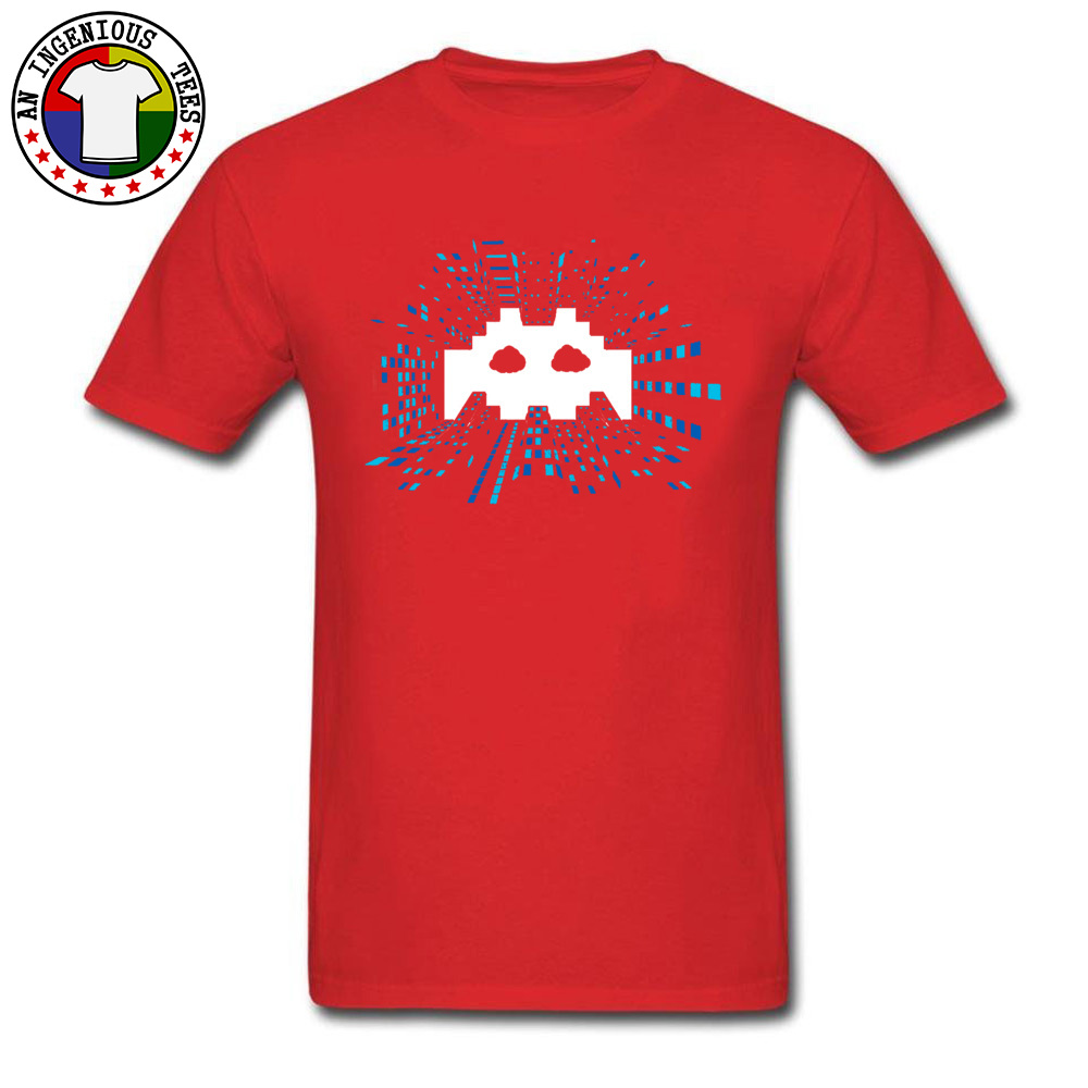 Techno-Android-Music April FOOL DAY 100% Cotton Round Neck Tops Shirts Short Sleeve Comics Tee Shirts High Quality Crazy Tshirts Techno-Android-Music red