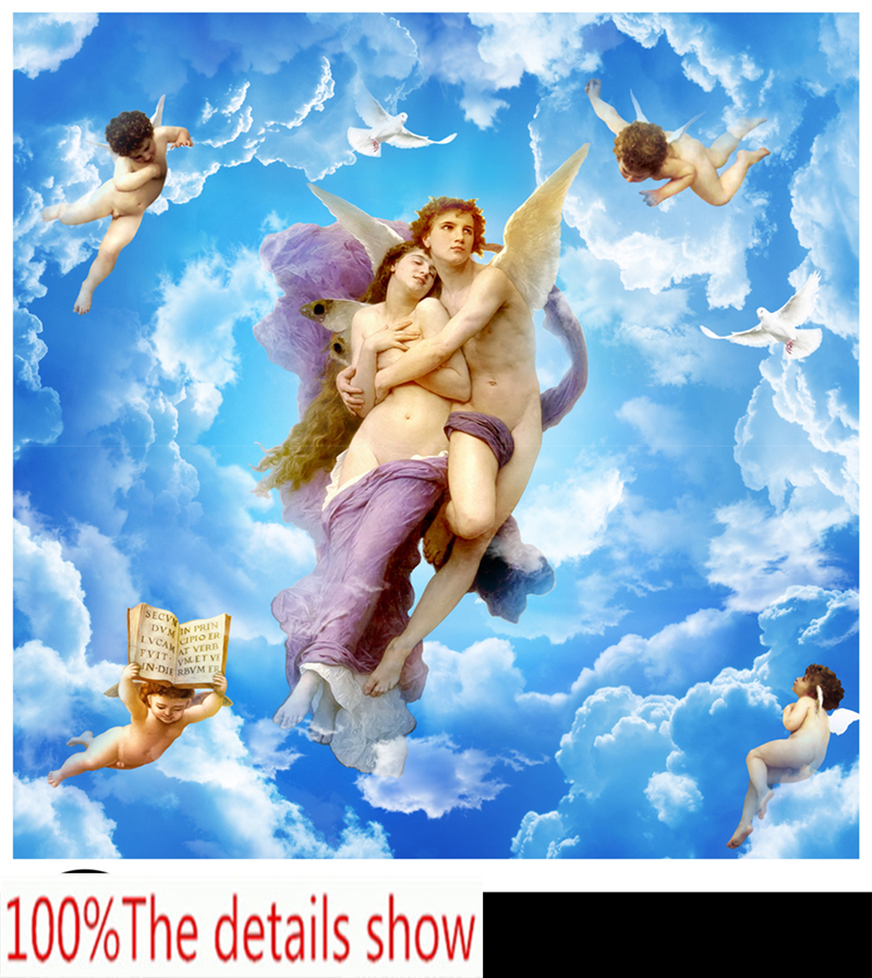 Customize Any Size 3d Hd Interior Decoration Angels Goddess Beauty Zenith Silk Background Wall Painting Wallpaper Wallpapers Aliexpress