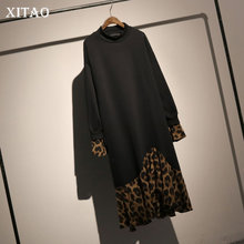 [XITAO] 2018 Autumn Europe Fashion New Arrival O-neck Full Sleeve Loose Dress Female Patchwork Mid-calf Casual Dress ZLL2277