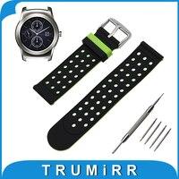 22mm silikon gummi uhr band double side tragen für lg g watch W100/W110/Urban W150 Bügel-armbanduhr Gürtel Armband + Werkzeug