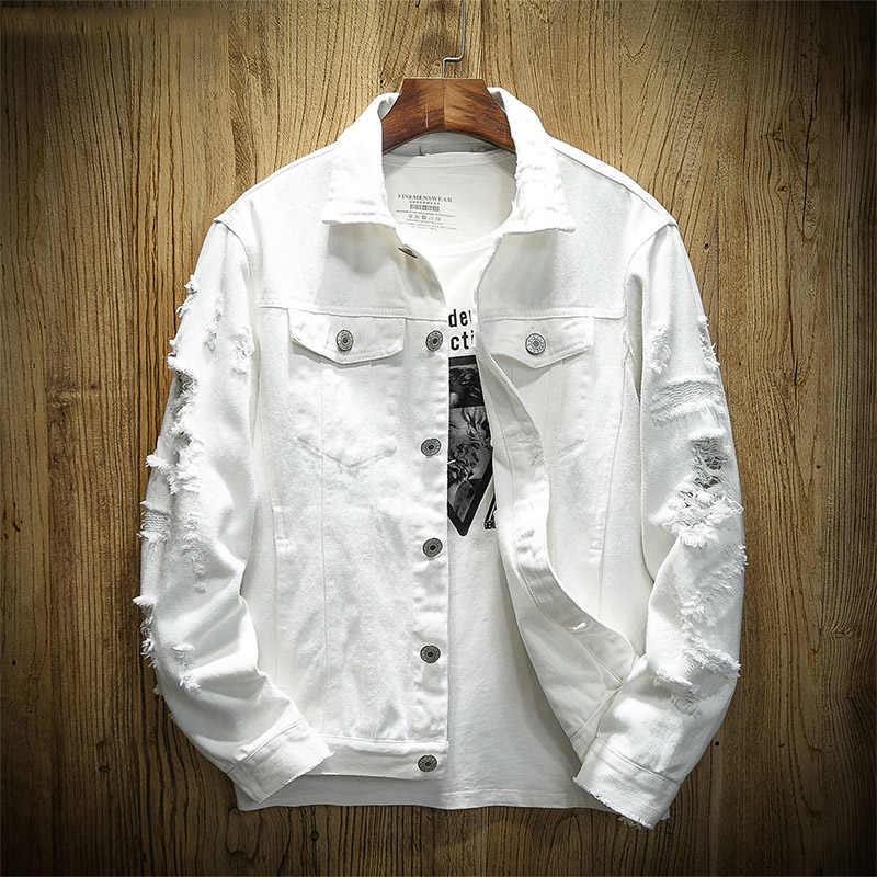 新 2019 秋のファッション穴デニムジャケットメンズシングルブレスト男性のジャケットプラスサイズのジャケット jaqueta masculina ボンバージャケット y1