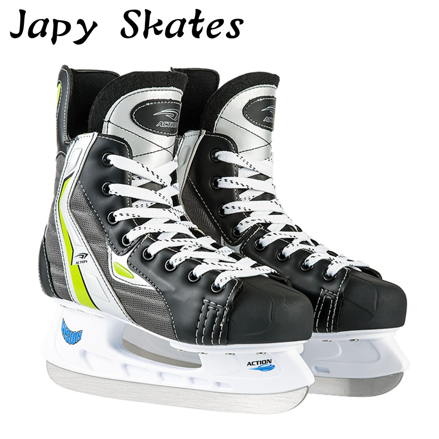 Japy Skate Action Ice Hockey Shoes Adult Child Ice Skates Professional Ball Knife Ice Hockey Knife Shoes Real Ice Skates szblaze 6061 aluminum alloy tube clap long track ice speedskating blades frames 60hrc dislocation skate shoes knife 1 1mm frame