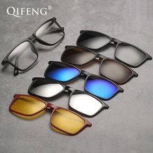 Optical Spectacle Frame Men Women TR90 With 5 Clip On Sunglasses Polarized Magnetic Myopia Glasses Eyeglasses QF125