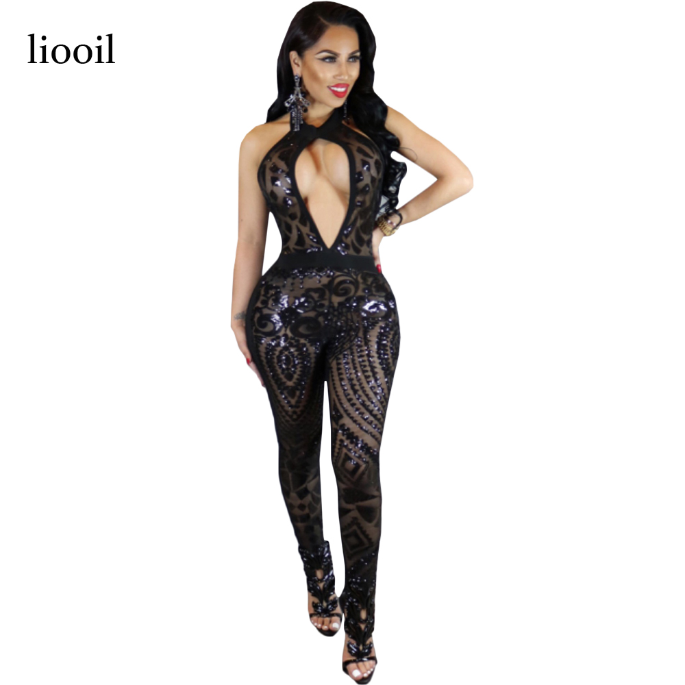 Liooil Sexy Club Hollow Out Sequin Jumpsuit Summer Sleeveless Halter Backless Women Rompers Black Red Mesh