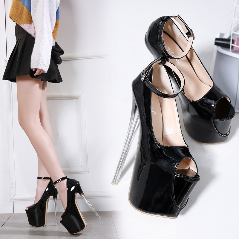 Street Fashion Footwear Crystal And 18 Centimeters Waterproof Paint Sexy High-heeled Shoes Buckle Belt Fish Mouth Shoes
