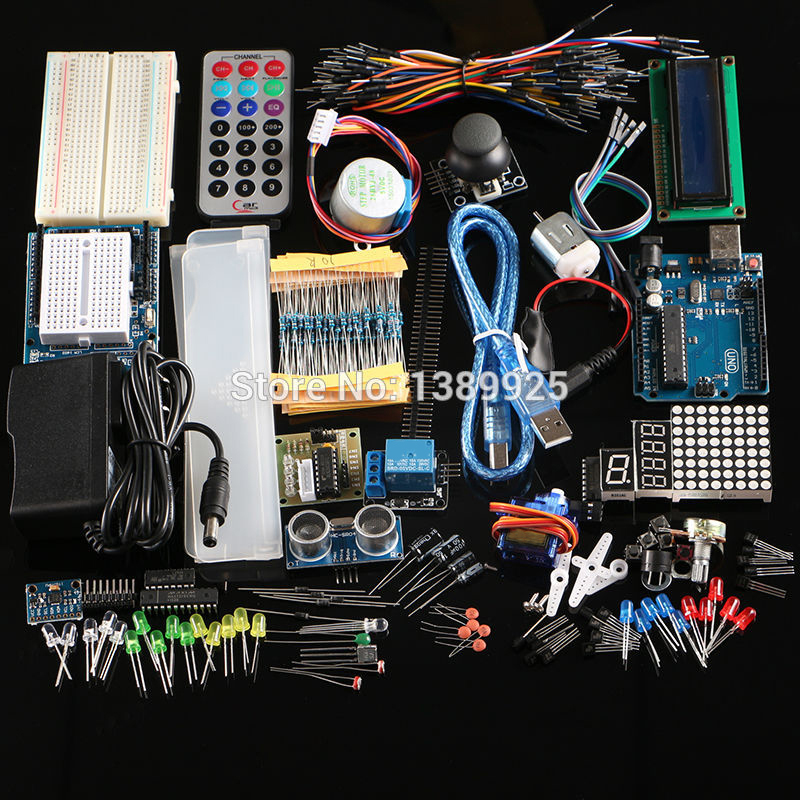 Livraison Gratuite Ultime kit Hc-sr04 Capteur À Ultrasons/Moteur Pas À Pas/Servo/1602 LCD/UNO R3 starter Kit avec la boîte de Détail