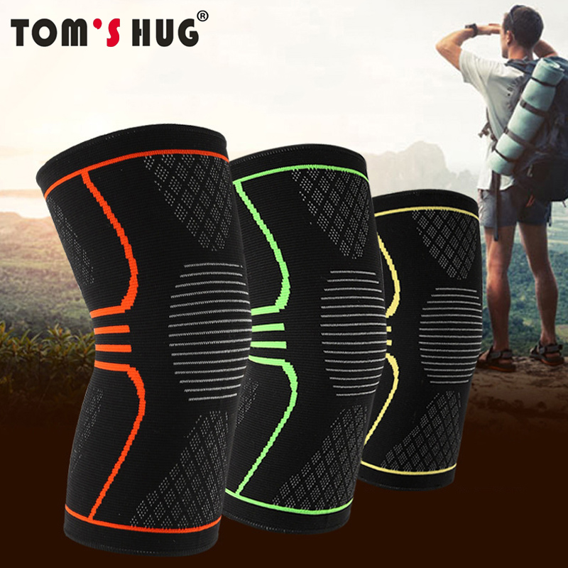 Tom's Hug Brand Sport Knee Support Protector Sleeve Kneepad 1 Pcs Fitness Running Cycling Braces High Elastic Gym Knee Pad Warm