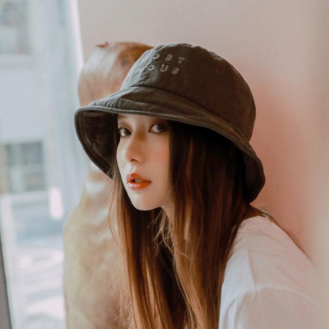 Moda sombrero de cubo mujeres K Pop Hip Hop gorras Gorros bordado carta Casual gris oscuro gorra de algodón 2019 nuevo verano pesca sombrero de los hombres