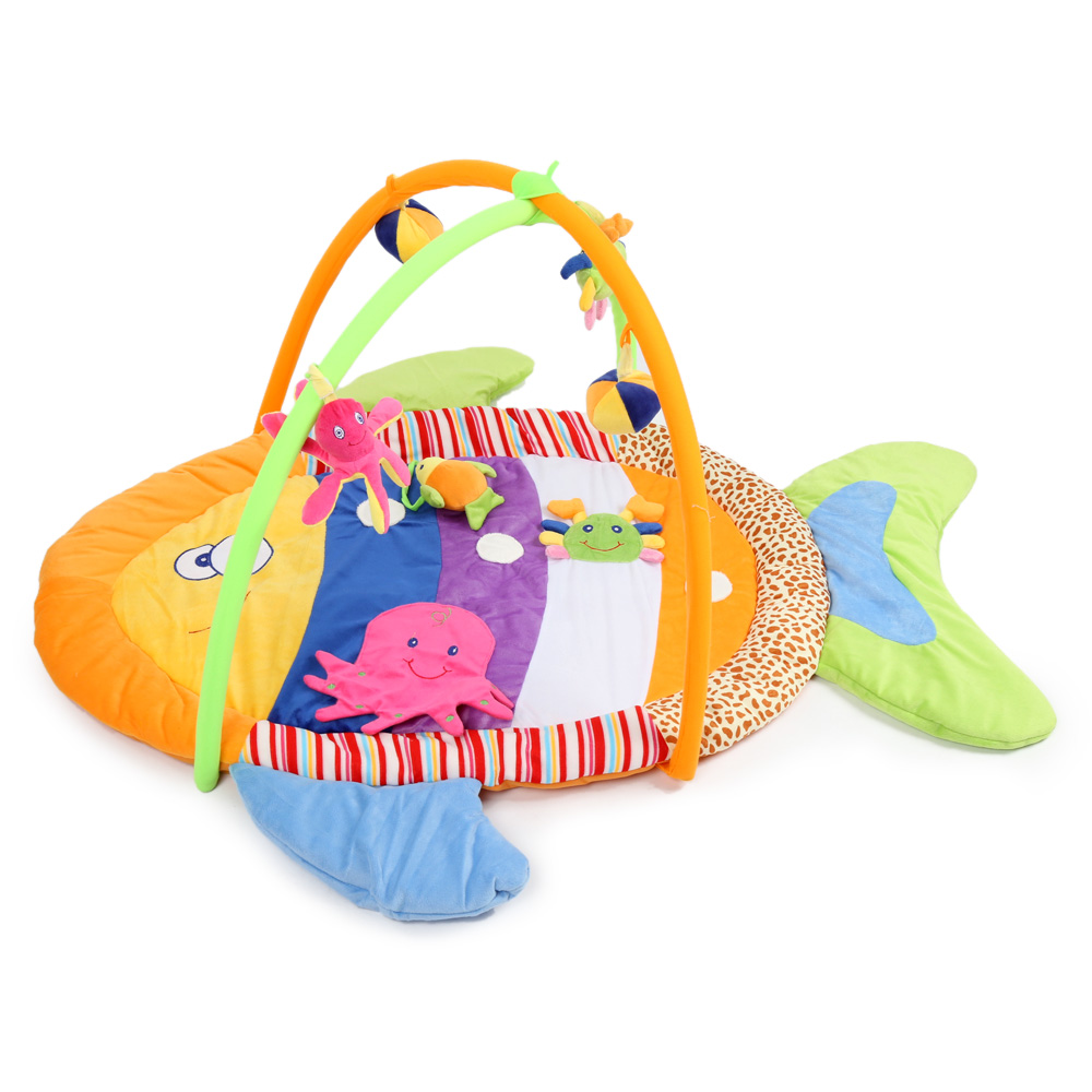 Hot Sale Baby Play Mat 0-12 Months Baby Boys Girls Soft Colorful Fish Gym Blanket With Frame Kids Rug Floor Mat Crawling Mat sand shell starfish pattern floor area rug