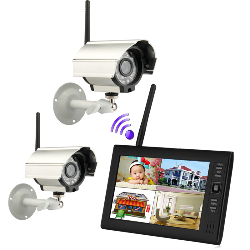 "7/"" TFT LCD 2.4G 4CH Wireless DVR Security System Monitor Night Vision 4 Cameras"