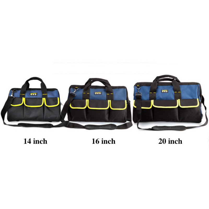 Подробнее о Tool Bag  Portable Multi-purpose  Double-sided Tote Bucket Organizer with Strap Pocket Oxford Blue Black Large 14
