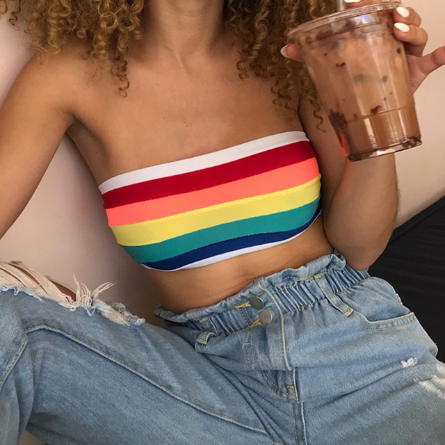 e093687041c0ec 2019 Sexy Summer Tube Top Women Strapless Bustier Crop Top Stripe Vest  Bandeau Tops Rainbow Striped Bralette Brassier Female