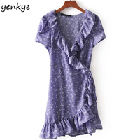 Summer Dresses 2018 Women Lavender Printed Ruffle Wrap Dress Lady Short Sleeve Sexy Cross V Neck