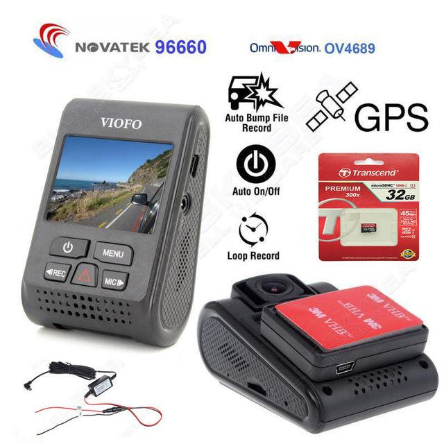 Free shipping! Original VIOFO Car Dash Camera A119 Capacitor Novatek 96660 DVR track recorder GPS Module Hard Wire 32GB Card