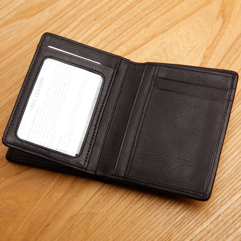 LAN mens genuine leather short wallet quality cow leather suitable for gift