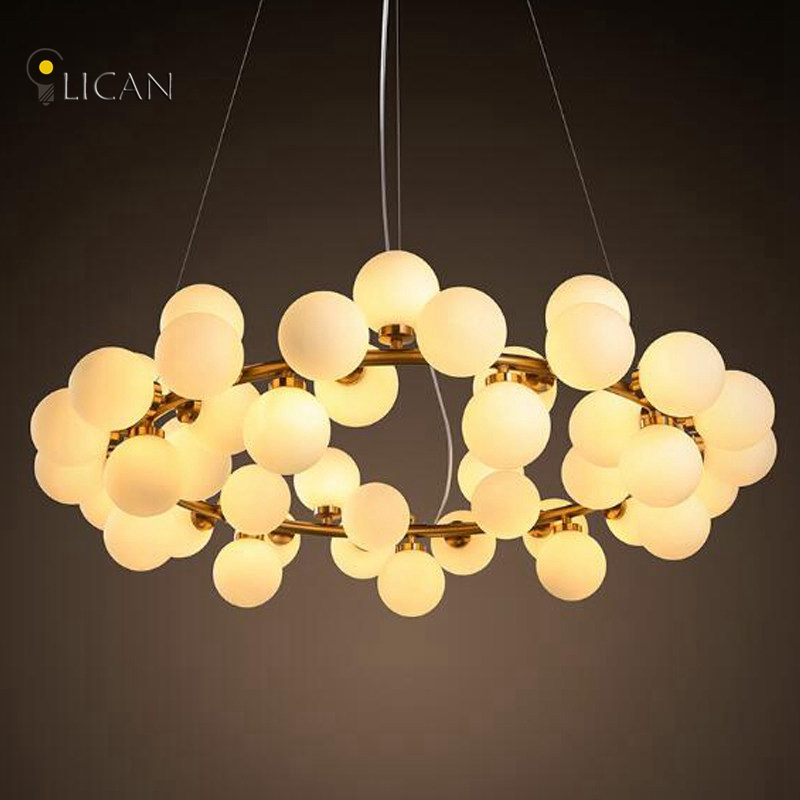 LICAN Vintage Retro Round Bubble LED pendant Lamp Lighting Fixture Modern Lustre Pendant lights for dining room glass pendant