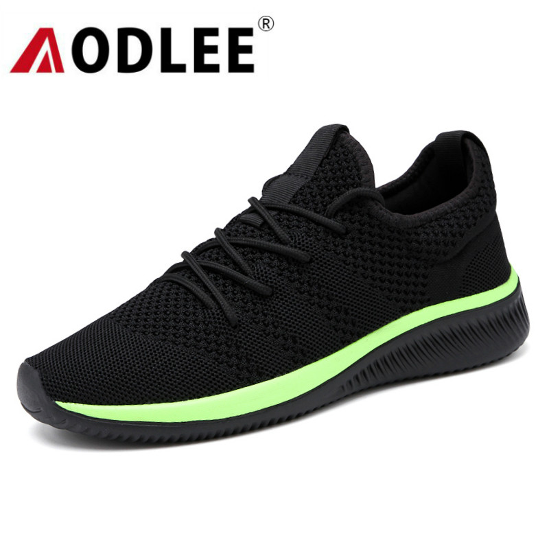 AODLEE 2019 Mesh Mens Shoes Casual Lac-up Flyknit Men Sneakers Shoes Light Breathable Men Casual Shoes Tenis Feminino Zapato tênis masculino lançamento 2019