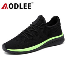 AODLEE 2019 Mesh Mens Shoes Casual Lac-up Flyknit Men Sneakers Shoes Light Breathable Men Casual Shoes Tenis Feminino Zapato