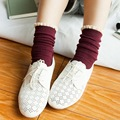 Japanese style new lace patchwork warm cotton heap socks for female women's solid color vintage boot socks calcetines meias 8