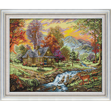 Joy Sunday the Holiday Villa Counted Cross Stitch 11CT 14CT landscape Kits for Embroidery Home Decor Needlework