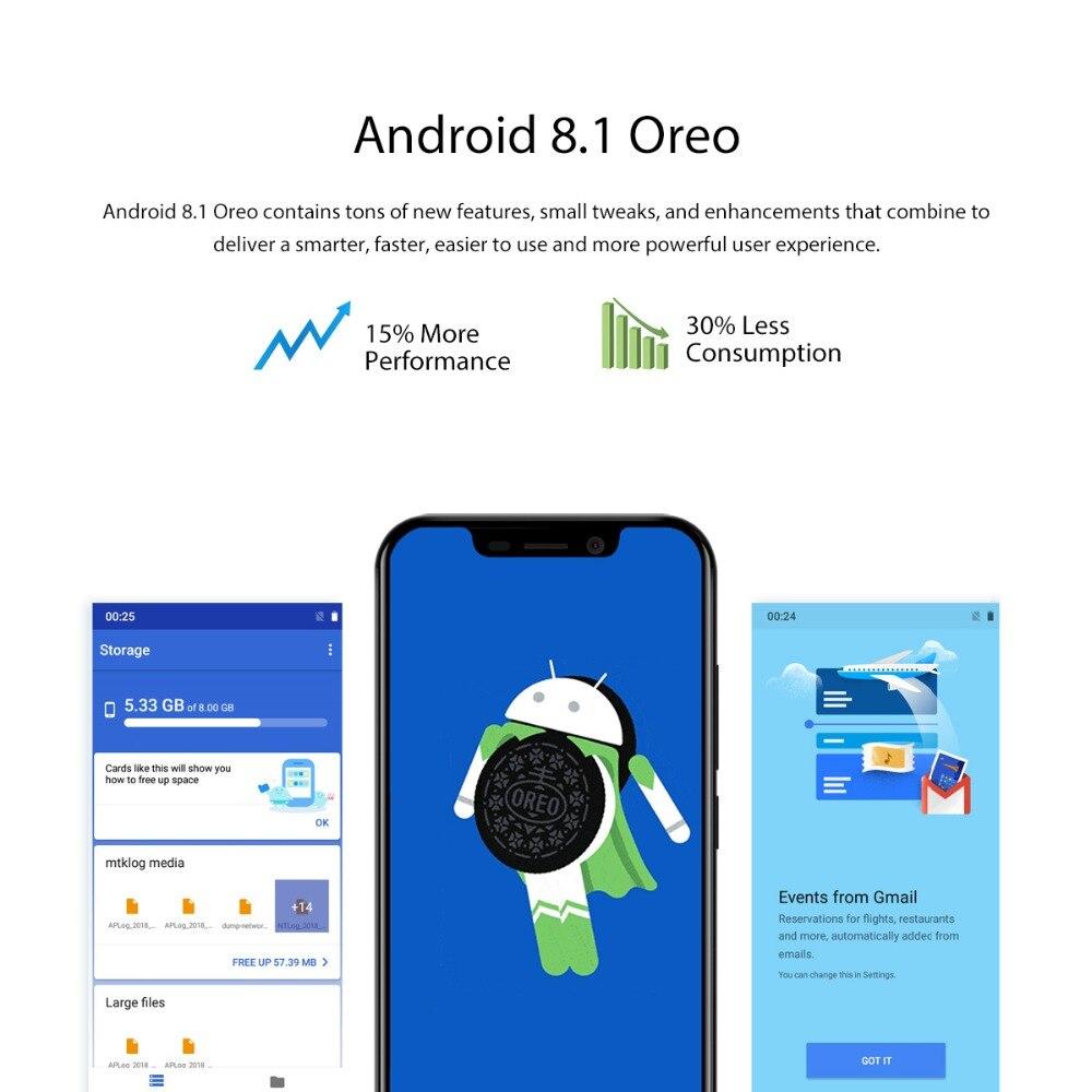 Blackview A30 5.5 pouces 19:9 Smartphone plein écran MTK6580A Quad Core 3G téléphone portable avec identification faciale 2GB + 16GB Android 8.1 double SIM - 6