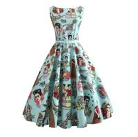 Retro Summer Dress For Women Flower Printing Sexy Female Hepburn Vintage Rockabilly Pin Up Dress Elegant Party Sun Dress J2752