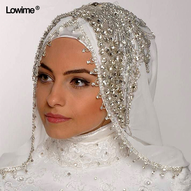 Luxury Sewing Beads Crystal Veils Custom Made Color Length Wide Muslim Veils Hijab One Layer Handy Made Wedding Veil LW-107