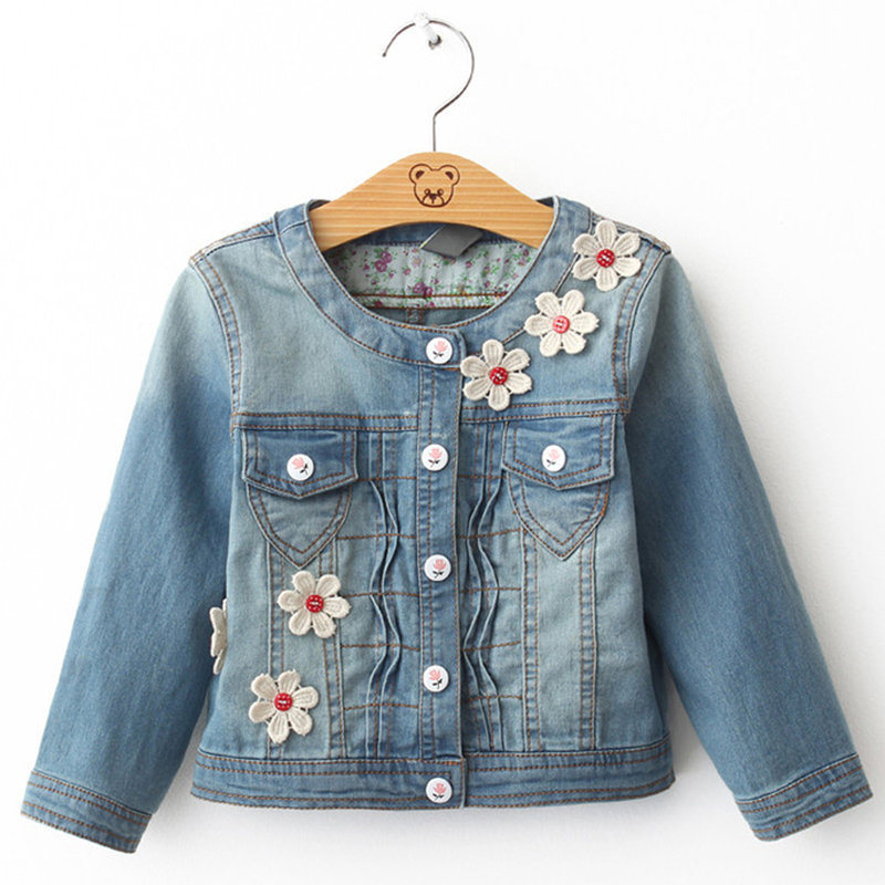 Denim Jacket Girl Spring Autumn Long Sleeve Jacket Children