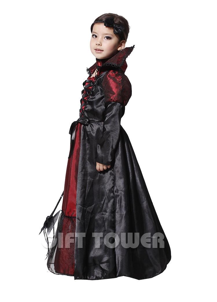 Evil Queen Costume Girl Black Vampire Princess Children Halloween ...