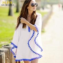2017 Sexy Cotton Bathing Suit Cover ups Summer Beach Dress Tassel Trim Bikini Swimsuit Cover up Beach wear Pareo Sarong