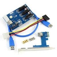 PCIe 1 To 3 PCI Express 1X Slots Riser Card Mini ITX To External 3 PCI