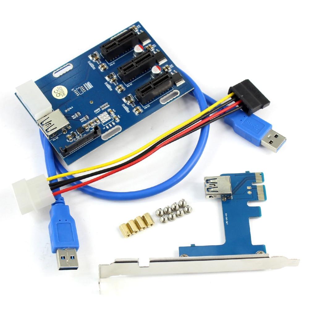 PCIe 1 to 3 PCI Express 1X Slots Riser Card Mini ITX to External 3 PCI-e Slot Adapter PCIe Port Multiplier Card Q21532 new aad in card pcie 1 to 4 pci express 1x slots riser card mini itx to external 4 pci e slot adapter pcie port multiplier card