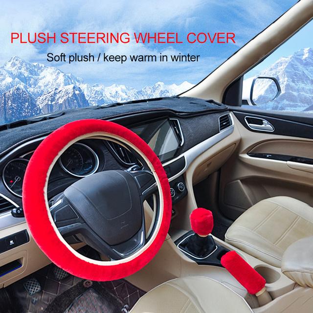 Funda de volante de moda de felpa automática traje de tres piezas Dropshipping alta calidad invierno cálido felpa 4 colores opcional nuevo