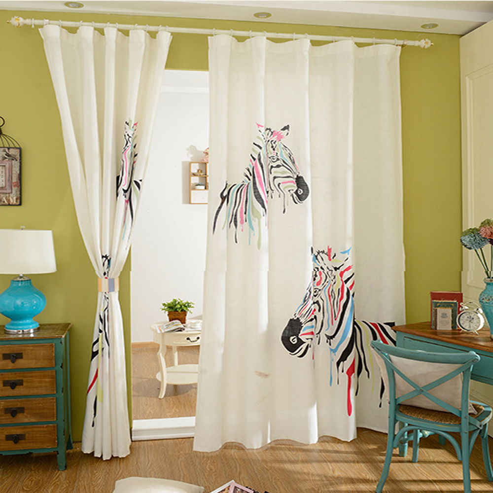 Zebra window curtains - 3d Printing Colorful Zebra Window Curtain For Living Room Zebra Bedroom Drapes Loops Cotton Polyester