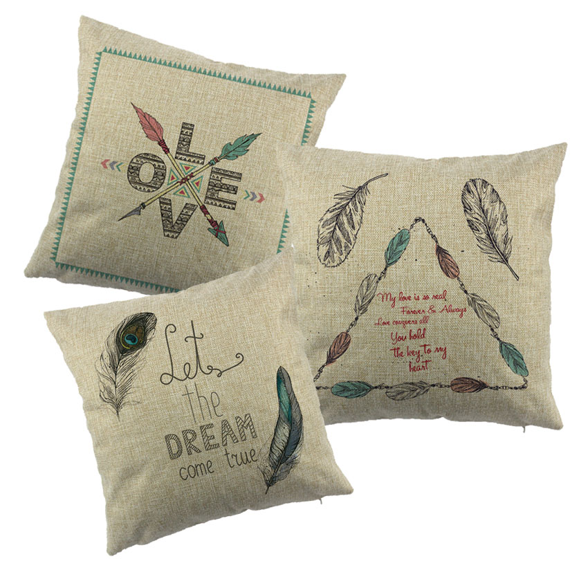 Feather Design Printed Cottom Liene Cushion Cover The Nordic Style Pillowcase For Sofa Couch New Year Home Decor